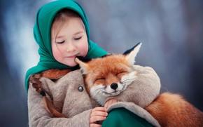 Wallpaper winter, hugs, Fox, girl