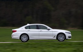 Picture field, forest, white, grass, BMW, profile, sedan, hybrid, 5, four-door, 2017, 5-series, G30, 530e iPerformance