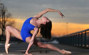 Picture girl, pose, yoga, warm-up