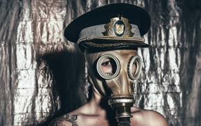 Picture girl, portrait, gas mask