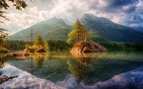 Picture trees, mountains, lake, rocks