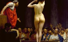 Wallpaper Jean-Leon Gerome, history, erotic, genre, picture, Roman Slave Market