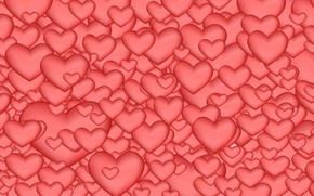 Wallpaper Hearts, Pink Background, Abstraction
