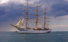 Picture sea, ship, sailboat, mast