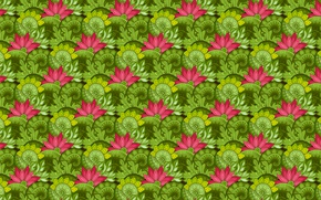 Picture leaves, pattern, Lotus