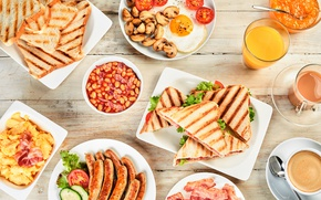 Wallpaper sausage, coffee, Breakfast, juice, scrambled eggs, sandwich, bacon