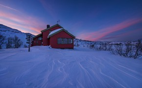 Picture winter, the sky, snow, house, Norway, the bushes, Norway, Vest-Agder, Taumevatn