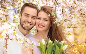 Picture girl, joy, flowers, smile, spring, tulips, male, love, lovers, flowers, beautiful, tulips