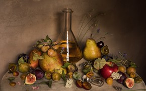Picture bee, Apple, pear, plum, cherry, decanter, figs