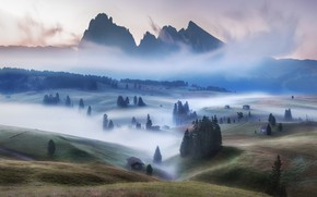 Picture mountains, fog, morning