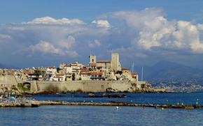 Picture sea, France, tower, home, Cote d'azur, Antibes