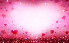 Wallpaper bokeh, love, sequins, pink, romantic, hearts, hearts, glitter