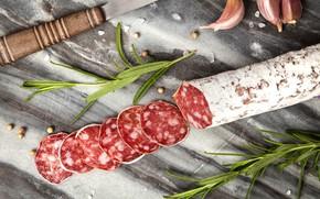Picture cutting, salt, seasoning, salami, sausage product