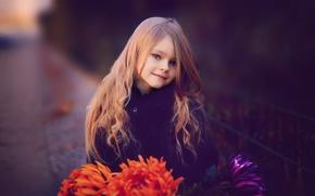 Picture flowers, girl, child, chrysanthemum, Rus