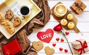 Wallpaper rose, heart, love, coffe, box, valentines day, rose, coffee, cookies, Breakfast, gifts, red