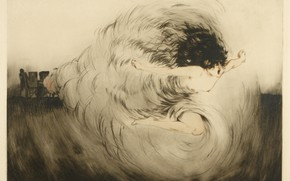 Picture 1917, Louis Icart, art Deco, The voice of the guns, etching and aquatint