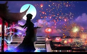Picture the sky, girl, night, roof, silhouette, balcony, yukata, the full moon, fireworks, lanterns, long hair, …
