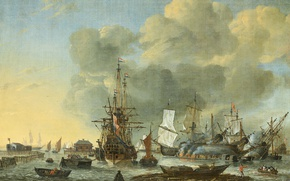 Wallpaper sail, The caulking of the Vessel in Amsterdam, Reinier Nooms, oil, ship, canvas, picture