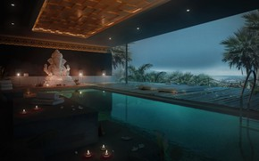Picture water, palm trees, construction, candles, pool, statue, spa