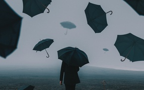Picture field, people, umbrellas, Bird Man