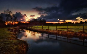 Picture field, clouds, nature, the fence, channel, glow