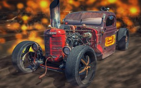 Picture design, background, Tractor Car, FarmAll Rat Rod