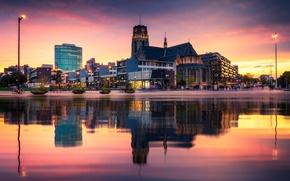 Picture night, lights, Netherlands, Holland, Rotterdam, Rotterdam, Laurenskerk
