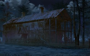 Picture forest, night, house, pipe, Scary house