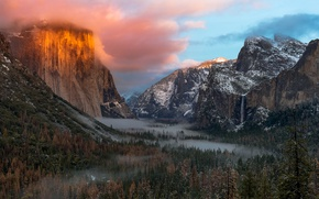 Picture forest, the sky, clouds, light, mountains, valley, CA, USA, Yosemite national Park, Yosemite National Park
