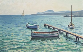 Picture sea, boat, picture, pier, Albert Marquet, Albert Marquet, The breeze on the Island of Porquerolles