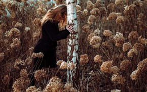 Picture girl, nature, birch