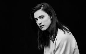 Picture portrait, actress, brunette, black and white, black background, photoshoot, Sundance, 2017, Deadline, Margaret Coelli, Margaret …