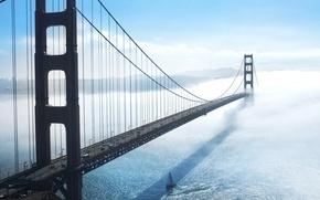 Picture machine, fog, rocks, shore, sailboat, yacht, cars, haze, San Francisco, USA, Golden Gate Bridge, United …