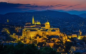 Wallpaper Hungary, night, Budapest, panorama, lights