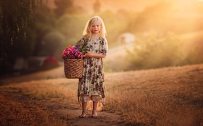 Picture flowers, basket, girl, Country Girl, Edie Layland, With Flower Basket