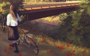Picture girl, bridge, nature