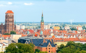 Picture the sky, trees, home, roof, Poland, panorama, windmills, tower, Gdansk, Town hall, St. Mary's Church