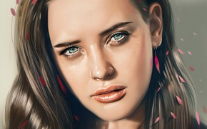 Picture look, figure, girl, face, Katherine Langford, art