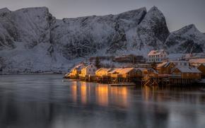 Picture winter, sea, snow, mountains, rocks, shore, Norway, Bay, houses, twilight, The Lofoten Islands, Pure, Lofoten