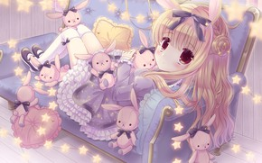 Picture girl, rabbits, bunnies