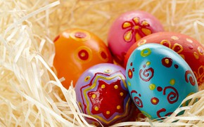 Picture eggs, Easter, socket, hay, Holiday