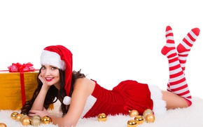 Wallpaper new year, white background, makeup, hat, cap, Christmas, lies, balls, stockings, dress, maiden, in red, ...