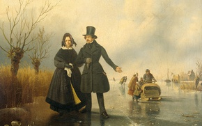 Picture oil, picture, canvas, Jacobus Sorensen, Portrait of Mr. and Mrs. Tyssen on the Ice