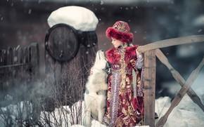 Picture winter, dog, girl, friends, husky, Kievan Rus, Yaroslav Gromov, Princess