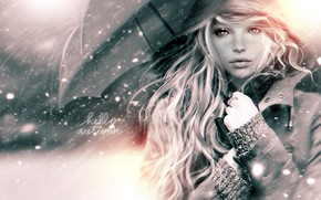 Wallpaper umbrella, girl, rain, hair