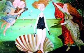 Picture angels, shell, birds, Gapchinska