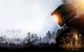 Picture the city, the game, art, soldiers, Halo 5: Guardians