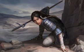 Picture girl, pose, weapons, art, Asian, Legend of the Five Rings
