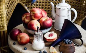 Picture sugar, nectarine, blueberries