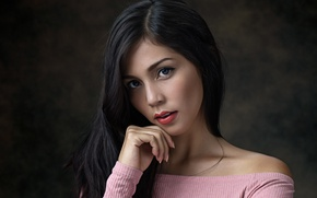 Picture look, pose, background, portrait, makeup, brunette, hairstyle, beautiful, Luis Gaston